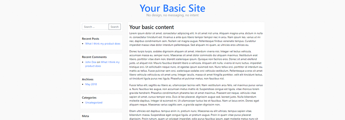 Basic Site With No Interactive Website Design